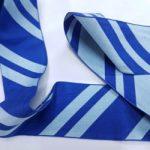 Ribbon Rayon Diagonal Stripes Blue 52mm