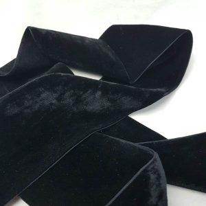 Ribbon Velvet Double Faced 75mm Black