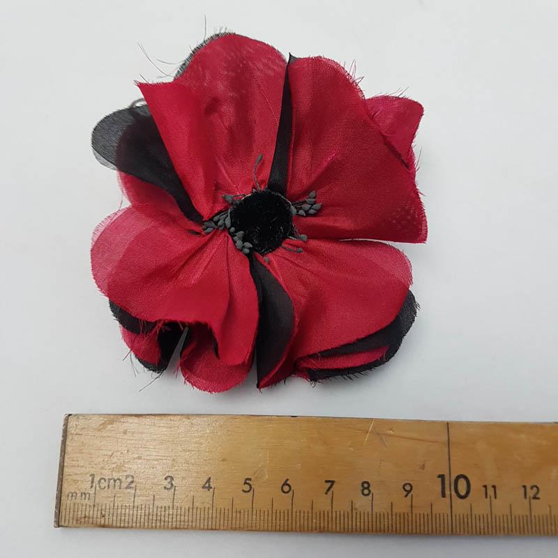poppy 10cm red and black