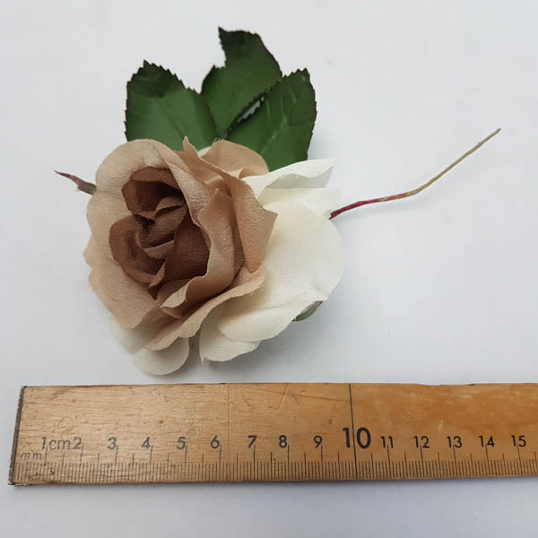 Rose Crepe w Leaves 17cm Mushroom