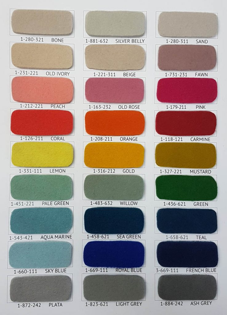 Fur felt colour chart bright colours