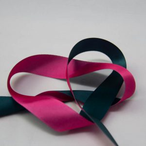 satin ribbon 25mm two tones forest and hot pink